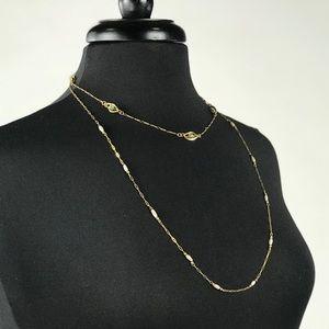 Vintage Gold Winard Necklace w/ Green Stones